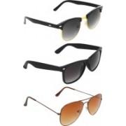 Abner Clubmaster, Wayfarer, Aviator Sunglasses(Black, Black, Brown)