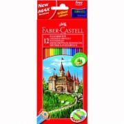 Creioane Colorate 12 culori + Ascutitoare Eco Faber-Castell
