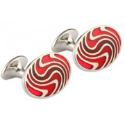 Mousie Bean Enamelled Cufflinks Zig Zag 137 Tonal Red