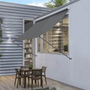 [pro.tec]® Toldo montando en la pared - Gris - 300 x 120 cm - Terraza Balcón Toldo extensible - Persiana de la ventana Exterior