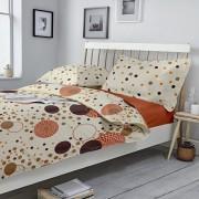 Lenjerie de pat, Dormisete, 2 persoane, Kinetics-pumpkin, renforce imprimata, bumbac, 220 x 230 cm, Portocaliu