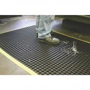 Anti-Ermüdungsmatte, schwarz, einfach gewebt mit gelben, abgeschrägten Kanten LxB 1500 x 1000 mm