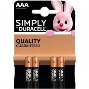 Duracell 4x Duracell AAA Simply batterijen alkaline LR03 MN2400 1.5 V