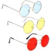 Elgator Round Sunglasses(Blue, Yellow, Red)