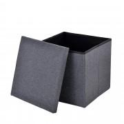 [en.casa]® Skládací taburet - textil - tmavě šedý - 38 x 38 x 38 cm