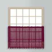 United Valerie Lace Sheer Kitchen Tiers, 52 by 36-Inch, Burgundy, Set of 2