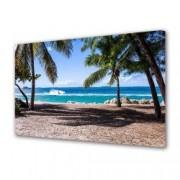Tablou Canvas Premium Peisaj Multicolor Palmieri pe plaja Decoratiuni Moderne pentru Casa 80 x 160 cm