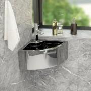vidaXL ezüstszínű kerámia mosdókagyló túlfolyóval 45 x 32 x 12,5 cm