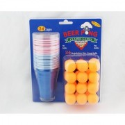 6th Dimensions 48 PCs Beer Pong Drinking Game Set Cups Balls Party Pub Gift Kit Ping American (24 Balls 24 Cups)