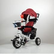 Tricikl Guralica Playtime 416 Star sa rotirajućim sedištem i tendom od lanenog platna - Crveni