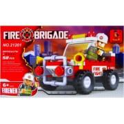 Set de constructie pentru copii Masina de pompieri 58 piese