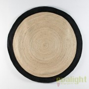 Covor rotund din iuta, realizat manual, DOON 200cm, alb/ negru 80914/00 TN