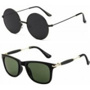 THE HOPE FASHION Retro Square, Round Sunglasses(Green, Black)