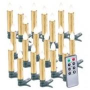 Lunartec 20 bougies LED pour sapin de Noël avec télécommande - coloris doré