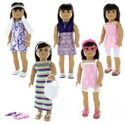 Doll Clothes - 24 Pieces Clothing Outfit Fits American Girl Doll, My Life Doll, Our Generation and other 18 inch Dolls by Pink Butterfly Closet