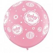 Baloane latex Jumbo Baby Girl pentru botez - 3 ft, Qualatex 18510, 1 buc