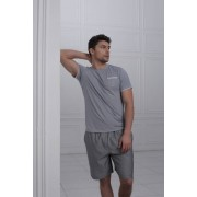 Laete Легкая мужская пижама из хлопка серого цвета Laete L51446-2
