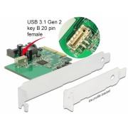 PCI Express la USB 3.1 Gen 2 key B 20 pini, Delock 89801