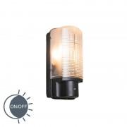QAZQA Exterior wall light black with light-dark switch IP44 - Mossa