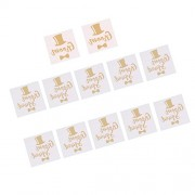 Segolike 12/set Flash Gold/Silver Wedding Bachelorette Team Bride Groom Temporary Tattoos Stickers - gold, 4
