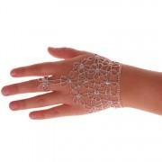 Handschoen zilver met strass steentjes