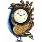 Ethnic Art Store Wooden Carving Peacock Wall Clock Thickness 17 MM