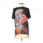 Glam Short Sleeve Blouse: Black Print Tops - Size Small