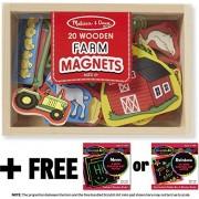 Farm Wooden 20 Magnets In A Box Gift Set + Free Melissa & Doug Scratch Art Mini Pad Bundle [2791]