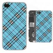 iPhone 4 Bakstycke Tartan Vinyl (Blå)