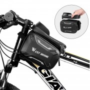 WEST BIKING Bicycle Front Frame Bag Cycling Waterproof Screen Touch Top Tube Phone Bag - Grey