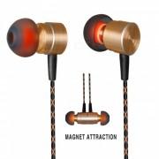 QKZ X41M 3.5mm enchufe con cable en el oido del auricular de metal? auriculares de adsorcion magnetica con microfono para telefono movil / mp3 / pad - golden