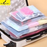 Travelsky 7 Pcs/Set Travel Accessories Clothes Luggage Self-sealing Wash Protection Storage Bag Organizers Bags Free Shipping