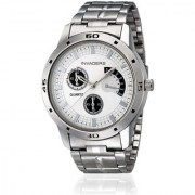 Invaders INV-BRAG-WHT stainless steel chain white dial chronolook mens watch