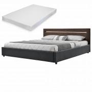 [my.bed] Elegantná manželská posteľ s LED osvetlením - matrac zo studenej HR peny - 180x200cm (Záhlavie: alcantara koženka hnedá / Rám: alcantara koženka tmavo sivá) - s roštom