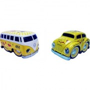 Emob Pull Back Yellow Cartoon Printed Metal Model Car and Van Toy with Light and Sound Features (Multicolor)