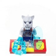 "Minifigure Packs: Lego Legends Of Chima Bundle ""(1) Masked Saber Tooth Tiger Warrior"" ""(1) Figure Display Base"" ""(2) Figure Accessorys (Oval Shield & Frost Ripper Sword)"""