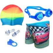 Bloomun Printed Swimming Shorts Swimming Cap Eye-Wear Earplug and Nose-plug Combo (Assorted Color)