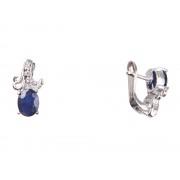 Cercei lalea din argint 925 cu safir albastru și zirconia