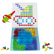 TLH DIY Building Blocks Pegboard Toy Mosaic Puzzles with Screws and Nut Take Apart Construction Games for Kids Children 3 Year Old