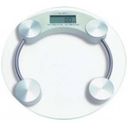 Wishpool Thick Tempered GLASS DIGITAL ELECTRONIC PERSONAL SCALE -- Bathroom Health Body Weight Measure (Round) Weighing Scale (Transparent) Weighing Scale(White)