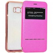 Para Samsung Galaxy S8 Cruz Galvanoplastia Protectora Caso TPU Suave Textura Con Pulsar La Tecla (magenta)
