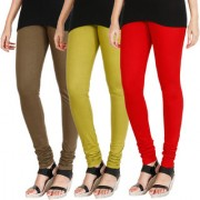 HRINKAR MEHENDI LIGHT GREEN RED Soft Cotton Lycra Plain leggings for womens combo Pack of 3 Size - L XL XXL - HLGCMB0680-XL