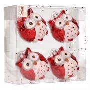 Shoppartners Hangdecoratie uil 4 stuks rood