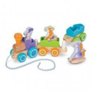 Set trenulet din lemn cu animale Melissa and Doug multicolor