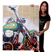 Ölgemälde Motorrad, 100% handgemaltes Wandbild Gemälde XL, 80x100cm ~ Variantenangebot