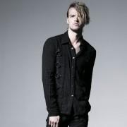 Punk Rave Metal Rings Washed Long Sleeved Shirt Black Y-525