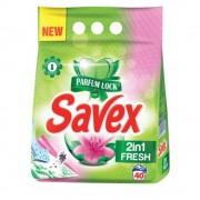 Detergent Pudra Automat de Rufe SAVEX 2 in 1 Fresh, Cantitate 4 Kg, 40 Spalari, Parfum Fresh, Detergent Automat pentru Haine Colorate, Detergenti Pudra pentru Haine, Solutii Curatare a Hainelor