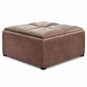 Brooklyn + Max Lincoln Distressed Umber Brown Faux Air Leather Wide Contemporary Square Table Ottoman 17.7 in. x 35 in. x 35 in.