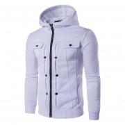 hombro chaqueta abrigo Sudadera Casual con capucha Hooded color Blanco