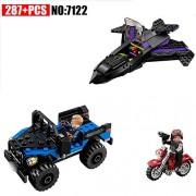 Generic 7122 Batman Chariot Super Heroes Black Panther Pursuit Superman Model Building Blocks Figure Toys for Children Compatible 76047